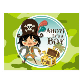 Pirate bright green camo camouflage post cards
