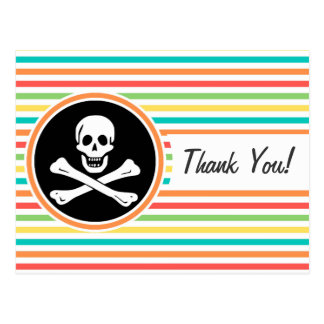 Pirate Bright Rainbow Stripes Post Card