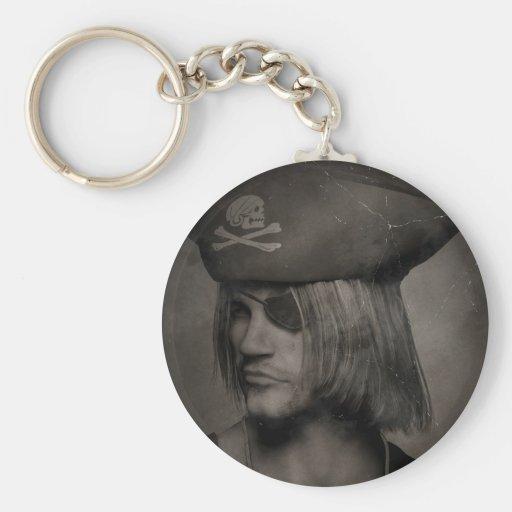 Pirate Captain Portrait - Antique Effect Key Chains