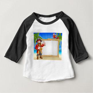 Pirate Cartoon Beach Sign Background Baby T-Shirt