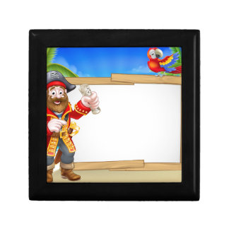 Pirate Cartoon Beach Sign Background Gift Box