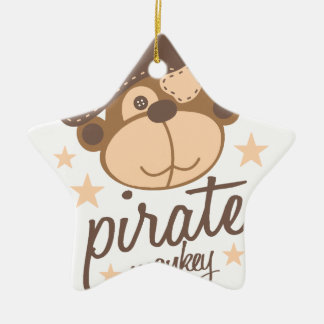 Pirate cartoon cool ceramic ornament
