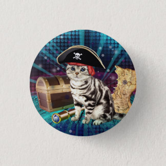 pirate cat 1 inch round button