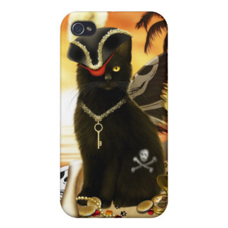 Pirate Cat Black Cat iPhone 4 Case