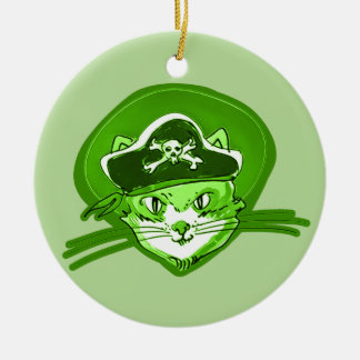 pirate cat cartoon style ceramic ornament