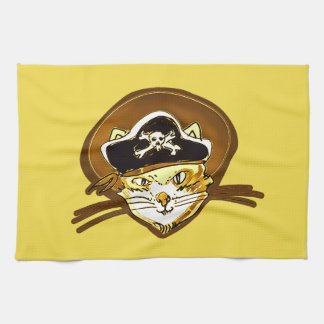 pirate cat cartoon style funny illustration kitchen towel