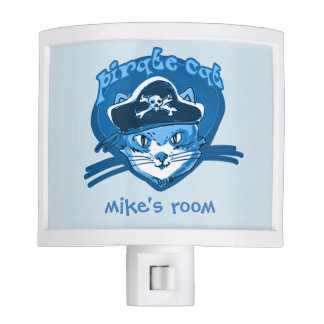 pirate cat cartoon style funny illustration night lights