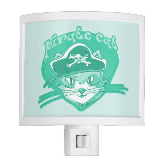 pirate cat cartoon style funny illustration nite lights