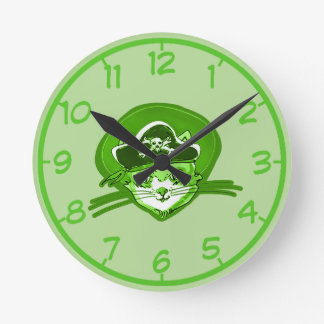 pirate cat cartoon style funny illustration round clock