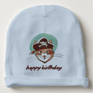 pirate cat funny cartoon happy birthday baby beanie