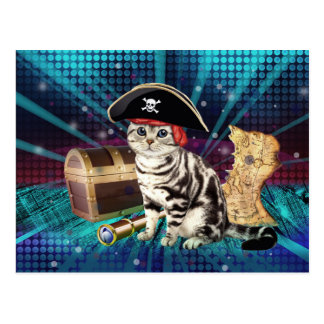 pirate cat postcard