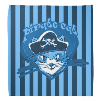 pirate cat sweet cartoon blue tint stripes bandana