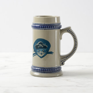 pirate cat sweet kitty blue tint cartoon beer stein