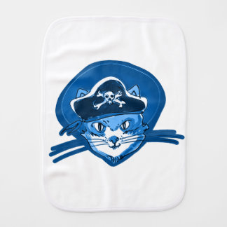 pirate cat sweet kitty blue tint cartoon burp cloth