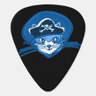 pirate cat sweet kitty blue tint cartoon guitar pick