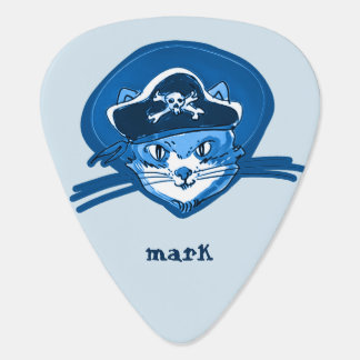 pirate cat sweet kitty blue tint cartoon guitar pick