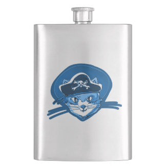pirate cat sweet kitty blue tint cartoon hip flask
