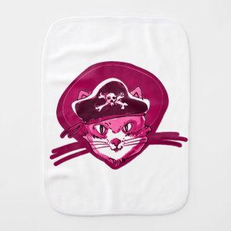 pirate cat sweet kitty purple tint cartoon burp cloth