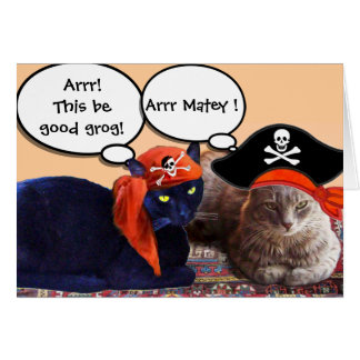PIRATE CATS AND ANTIQUE PIRATES TREASURE MAPS CARD