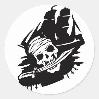 Pirate Clipper Ship Sword Skeleton Pirates Theme Classic Round Sticker