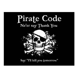 Pirate Code Thank You Post Card