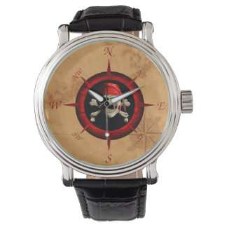 Pirate Compass Rose And Map Wristwatches