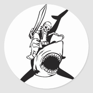 Pirate Costume Parties Accessories Skeleton Shark Classic Round Sticker