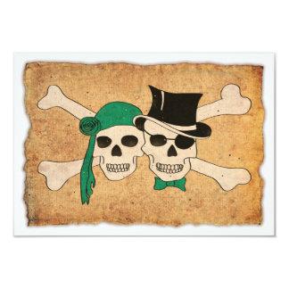 """pirate couple 3.5"""" x 5"""" invitation card"""