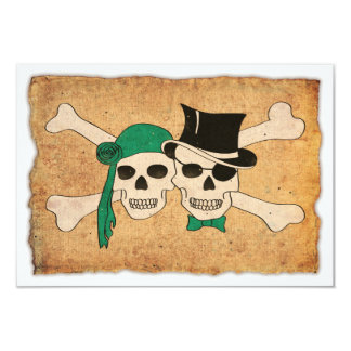 "pirate couple 3.5"" x 5"" invitation card"