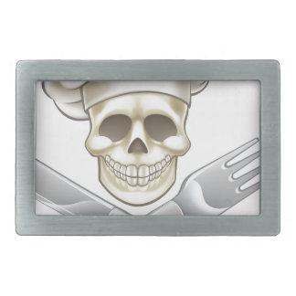 Pirate Crossbones Chef Cartoon Rectangular Belt Buckle