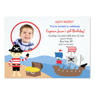 PIrate Custom Photo Birthday Party Invitations