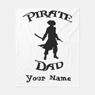 Pirate Dad with Simple Pirate silhouette Fleece Blanket