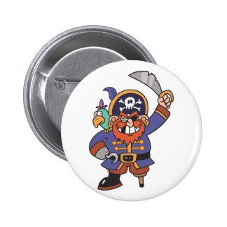 Pirate de gingembre avec le perroquet badges