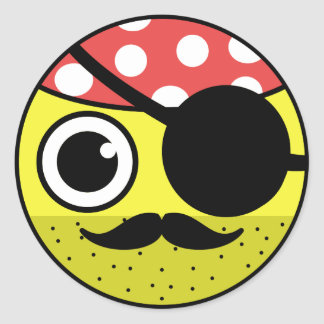 Pirate Face Classic Round Sticker