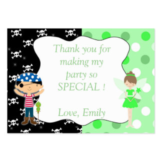 Pirate Fairy Thank You Tag Label Lime Green Skulls Large Business Card
