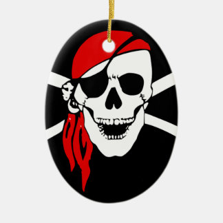 Pirate Flag Bones Skull Danger Symbol Ceramic Ornament