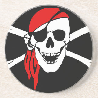 Pirate Flag Bones Skull Danger Symbol Coaster