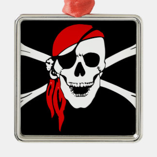 Pirate Flag Bones Skull Danger Symbol Metal Ornament