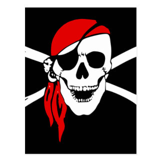 Pirate Flag Bones Skull Danger Symbol Postcard