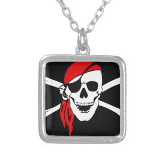 Pirate Flag Bones Skull Danger Symbol Silver Plated Necklace