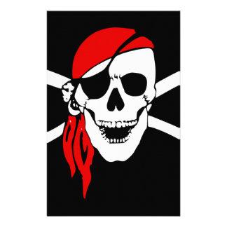 Pirate Flag Bones Skull Danger Symbol Stationery