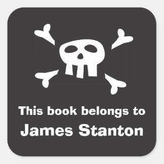 Pirate flag bookplate sticker/book label for boys square sticker