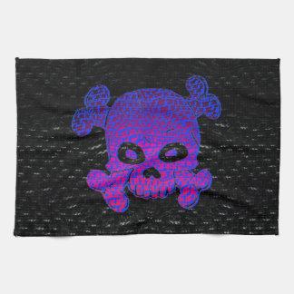 Pirate Flag Custom Purple Fade Blue bkg Kitchen Towel