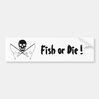 Pirate Flag Fish or Die Bumper Sticker