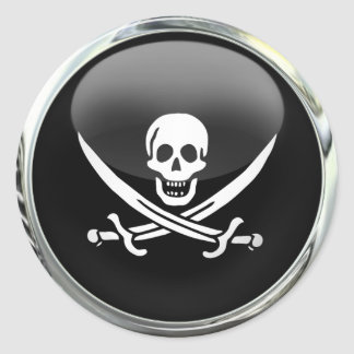 Pirate Flag Glass Ball Round Sticker