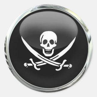 Pirate Flag Glass Ball Sticker