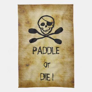 Pirate Flag Kayak Paddle or Die Kitchen Towel