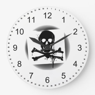Pirate Flag Skull and Crossbones Jolly Roger Large Clock