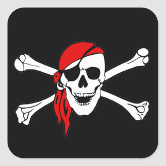 Pirate Flag Skull and Crossbones Jolly Roger Square Sticker