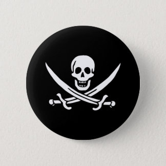 Pirate Flag Skull and Crossed Swords Jolly Roger 2 Inch Round Button